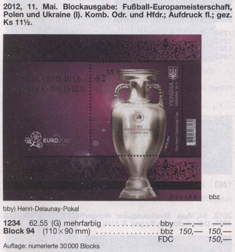Michel 1234 (block94) Ukraine Souvenir sheet Football UEFA 2012. Kubok