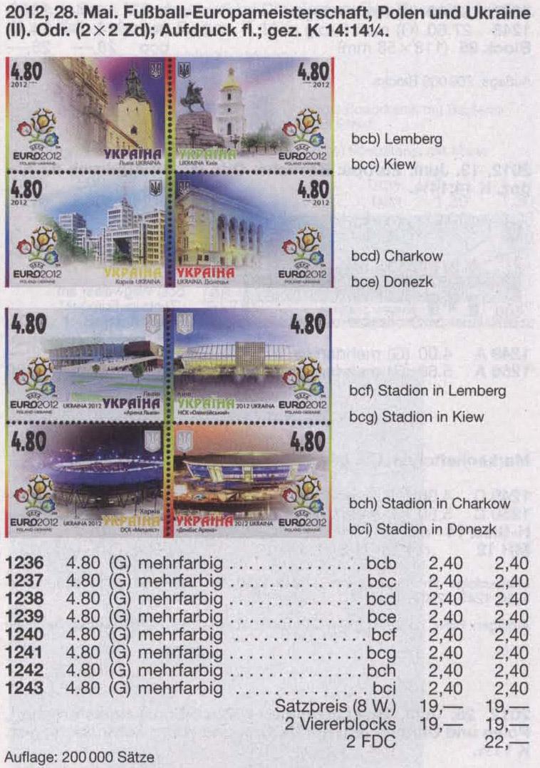 N1236-1243 Klb каталог 2012 листы Евро Города и Стадионы КОМПЛЕКТ
