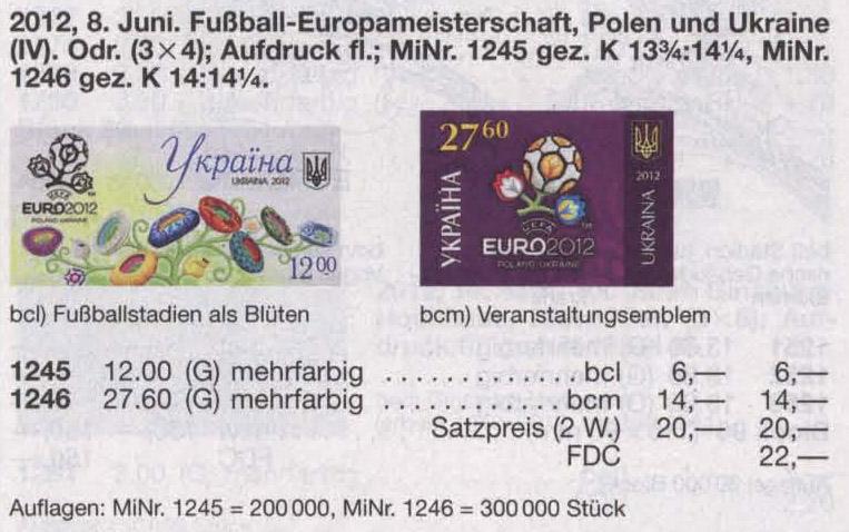 N1246 каталог 2012 марка ЕВРО 2012 Логотип Спорт Футбол