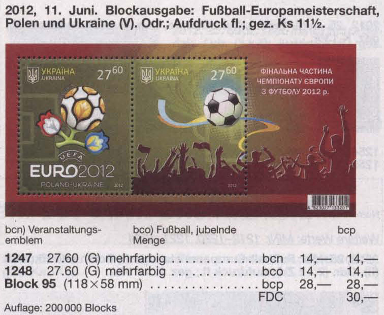 Michel 1247-1248 (block95) Ukraine Souvenir sheet Final EURO-2012