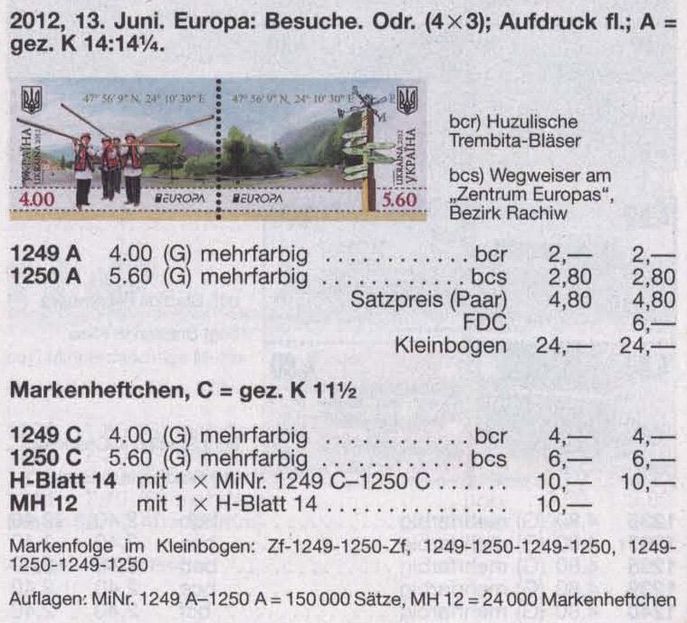N1249A-1250A Klb каталог 2012 лист Центр Европы CEPT