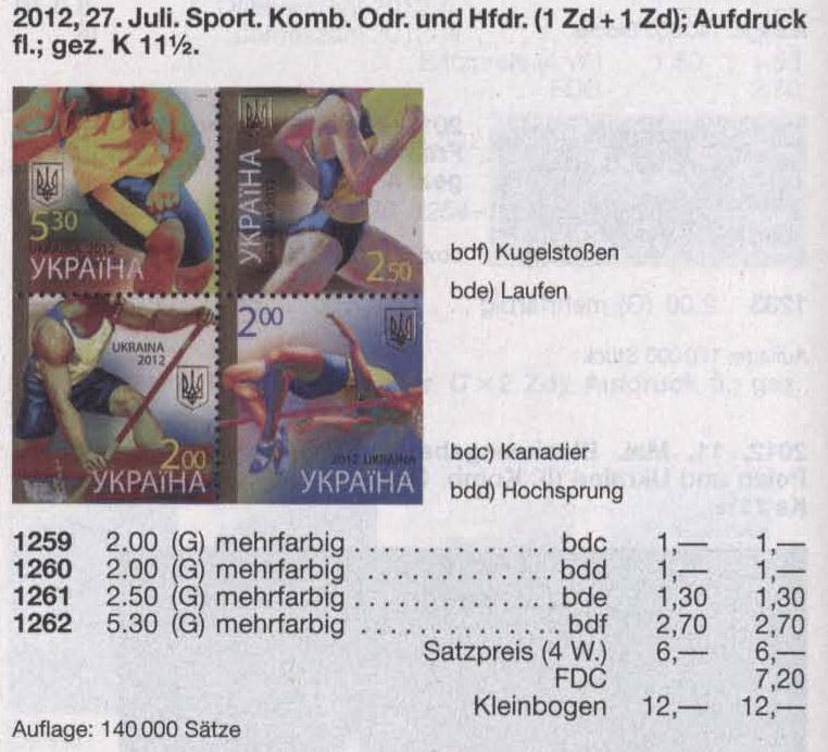 N1259-1262 Klb каталог 2012 лист Спорт-это жизнь