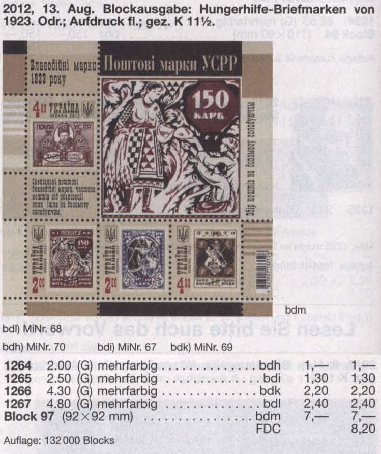 N1264-12667(block97) каталог 2012 N1222-1225 (b101) блок Почтовые марки УССР