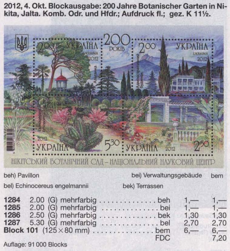 N1284-1287 (block101) каталог 2012 блок Никитский ботанический сад