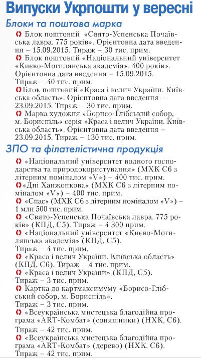 План марок на сентябрь 2015