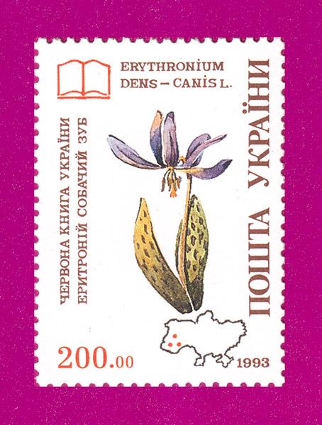 1994 марка Цветы Собачий зуб Флора Украина