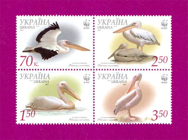 2007 N855-858 сцепка Фауна Пеликан розовый Украина