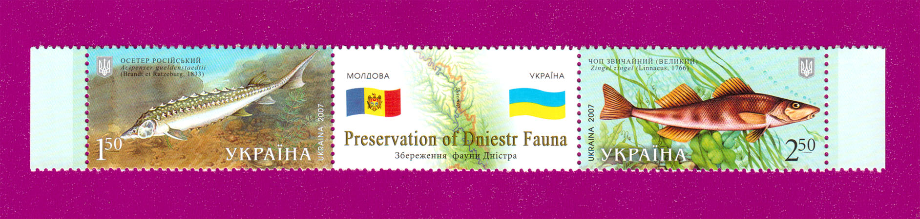 2007 N852-853 сцепка Фауна Украина-Молдавия рыбы Украина