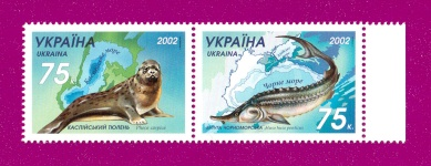 2002 Mi:UA530-531 Zd Coupling Fauna of Sea - Ukraine & Kazakhstan Joint Issue